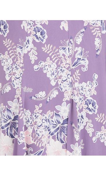 Anna Rose Panelled Floral Jersey Midi Skirt Lilac Multi - Gallery Image 4