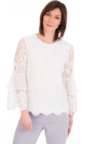 Long Sleeve Lace Bell Sleeve Top Ivory