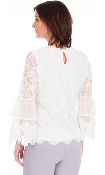 Long Sleeve Lace Bell Sleeve Top Ivory - Gallery Image 2
