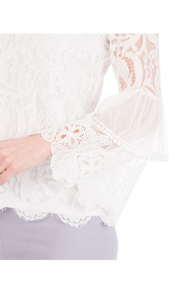 Long Sleeve Lace Bell Sleeve Top Ivory - Gallery Image 3