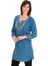 Embroidered Washed Tunic Blue - Gallery Image 1