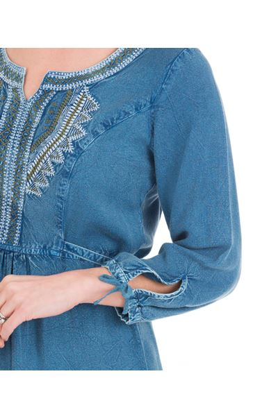 Embroidered Washed Tunic Blue - Gallery Image 3