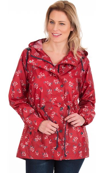 Lightweight Waterproof Printed Coat Red