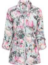 Anna Rose Garden Printed Roll Sleeve Lightweight Coat Floral - Gallery Image 1
