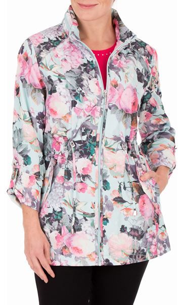 Anna Rose Garden Printed Roll Sleeve Lightweight Coat Floral - Gallery Image 2