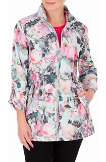Anna Rose Garden Printed Roll Sleeve Lightweight Coat