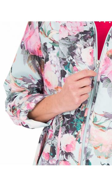 Anna Rose Garden Printed Roll Sleeve Lightweight Coat Floral - Gallery Image 4