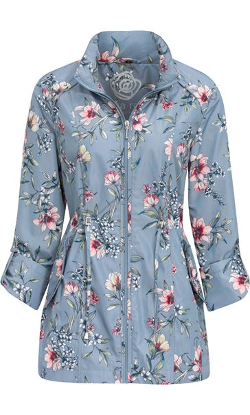 Anna Rose Roll Sleeve Floral Print Lightweight Coat Grey Floral