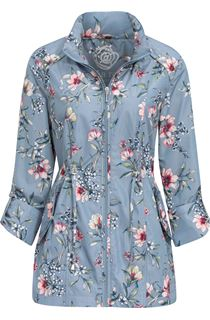 Anna Rose Roll Sleeve Floral Print Lightweight Coat