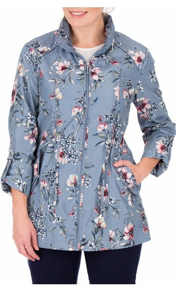 Anna Rose Roll Sleeve Floral Print Lightweight Coat Grey Floral - Gallery Image 2
