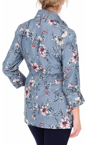 Anna Rose Roll Sleeve Floral Print Lightweight Coat Grey Floral - Gallery Image 3