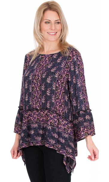 Printed Dipped Hem Top Midnight/Heather