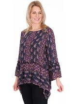 Printed Dipped Hem Top Midnight/Heather - Gallery Image 1