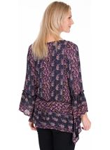 Printed Dipped Hem Top Midnight/Heather - Gallery Image 2