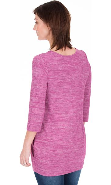 Lightweight Knitted Tunic Heather/White - Gallery Image 2