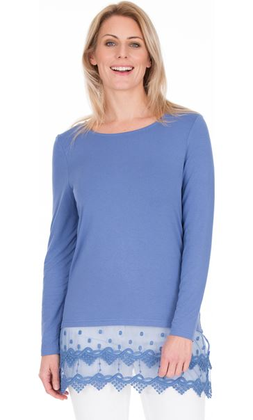 Longline Long Sleeve Lace Trim Jersey Top - Blue