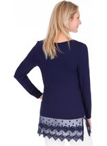 Longline Long Sleeve Lace Trim Jersey Top Midnight - Gallery Image 2