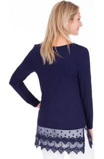 Longline Long Sleeve Lace Trim Jersey Top - Midnight
