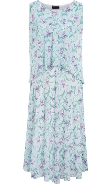 Anna Rose Bias Cut Floral Chiffon Midi Dress Aqua./Purple