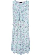 Anna Rose Bias Cut Floral Chiffon Midi Dress Aqua./Purple - Gallery Image 1