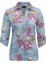 Anna Rose Bouquet Print Blouse With Necklace