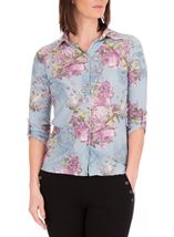 Anna Rose Bouquet Print Blouse With Necklace Geranium/Coral - Gallery Image 2