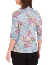 Anna Rose Bouquet Print Blouse With Necklace Geranium/Coral - Gallery Image 3