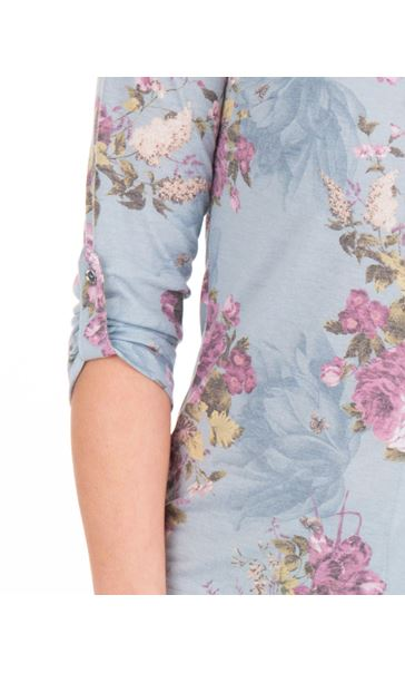 Anna Rose Bouquet Print Blouse With Necklace Geranium/Coral - Gallery Image 4