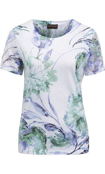 Anna Rose Bouquet Print Top Ivory/Purple