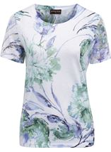 Anna Rose Bouquet Print Top Ivory/Purple - Gallery Image 1