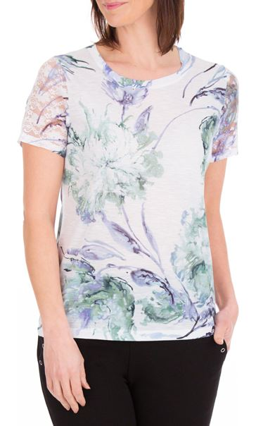 Anna Rose Bouquet Print Top Ivory/Purple - Gallery Image 2