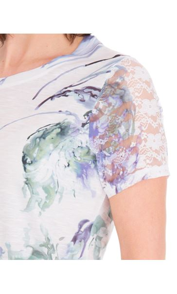 Anna Rose Bouquet Print Top Ivory/Purple - Gallery Image 4