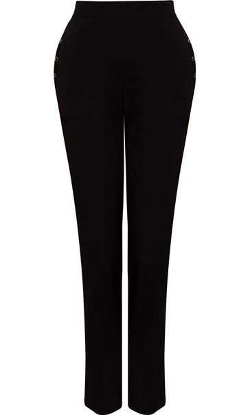Anna Rose Slim Leg Trousers 27 Inch Black - Gallery Image 4