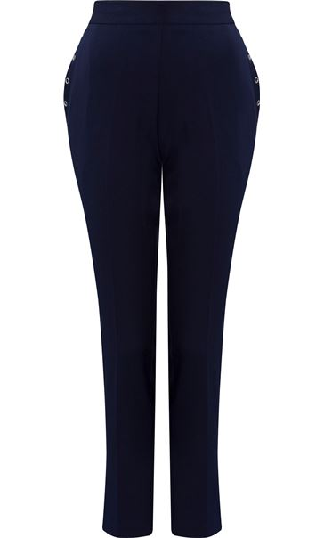 Anna Rose Slim Leg Trousers 27 Inch Navy - Gallery Image 4