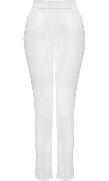 Anna Rose Slim Leg Trousers 27 Inch Ivory - Gallery Image 4