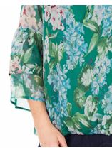 Floral Crinkle Chiffon Top Emerald/Multi - Gallery Image 3