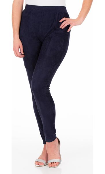Suedette Pull On Fitted Trousers Midnight