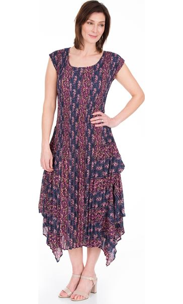 Dip Hem Pleated Print Maxi Dress