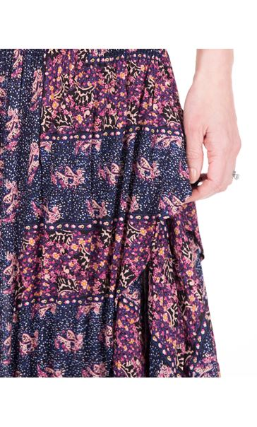 Dip Hem Pleated Print Maxi Dress Midnight/Heather - Gallery Image 3