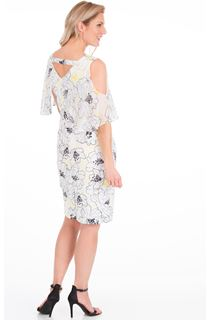Cold Shoulder Printed Scuba Dress