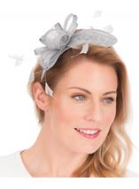 Sinamay Headband Fascinator Silver - Gallery Image 1