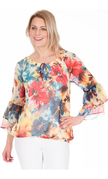 Floral Printed Chiffon Top Teal/Jade/Lime