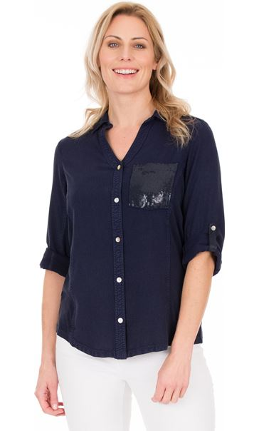 Fitted Sequin Trim Shirt Blue