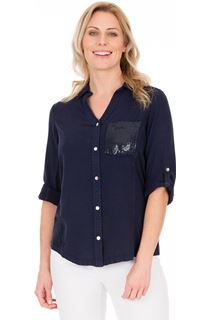 Fitted Sequin Trim Shirt