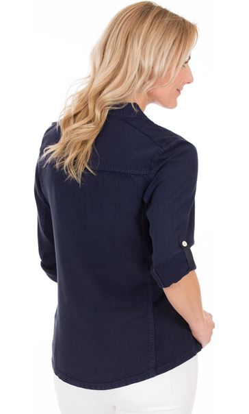 Fitted Sequin Trim Shirt Blue - Gallery Image 2