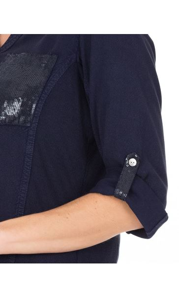 Fitted Sequin Trim Shirt Blue - Gallery Image 3
