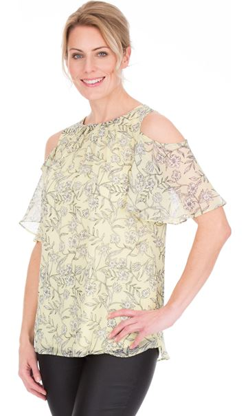 Cold Shoulder Printed Chiffon Top Soft Yellow