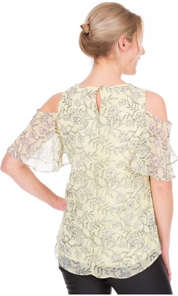 Cold Shoulder Printed Chiffon Top Yellow - Gallery Image 2