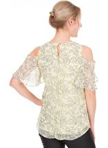 Cold Shoulder Printed Chiffon Top Soft Yellow - Gallery Image 2