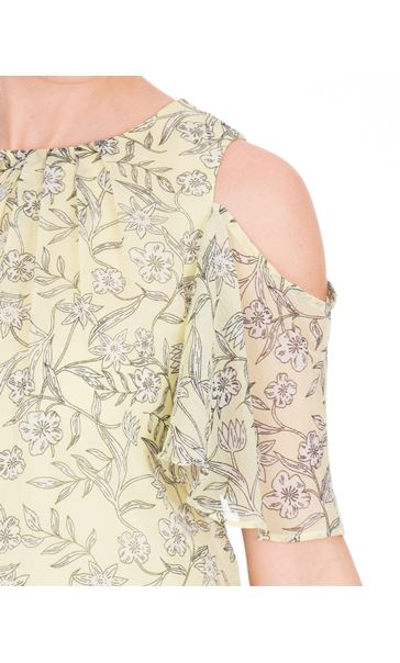 Cold Shoulder Printed Chiffon Top Yellow - Gallery Image 3